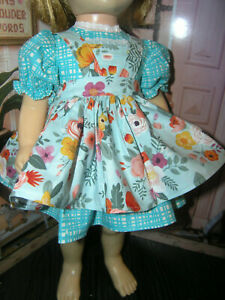 "3 Pc Set Dress Floral Print Apron 19-20"" Doll clothes fits Mattel Chatty Cathy"