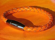 Mens / ladies Orange leather bracelet with stainless steel clasp by Lyme Bay Art