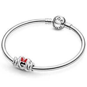 Pandora Silver Enamel Charm DISNEY Minnie Mouse Bow & Mum 799363C01