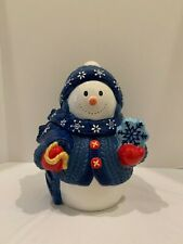 "Homespun Holliday Collection ""11 Inch Blue Snowman Cookie Jar"""