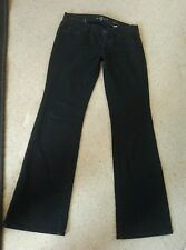 7 FOR ALL MANKIND JEANS black  LEXIE dark vtg boot SIZE 27X30.5 petite EUC NICE