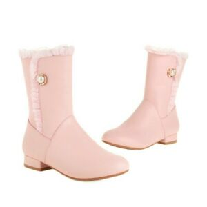Women Low Heel Motor Boots Sweet Casual Pu Faux Leather Ankle Outdoor Fashion