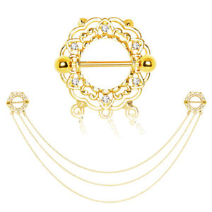 """14G 3/4"""" Barbells Stainless Steel Gold IP Triple Chain Floral Nipple Shield F201"""
