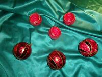 ~ 6 alte Christbaumkugeln Glas Reflexkugeln Eislack rot perlmutt gold Vintage ~