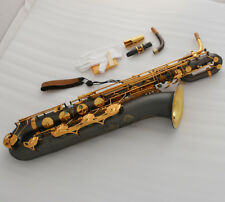 MATT BLACK Baritone Saxophone GOLD BELL Eb Sax Abalone Shell Key With Case