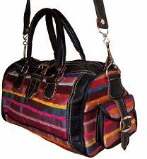 Moroccan Leather Handmade Shoulder Bag Purse Handbag Silk Fabric Medium Black