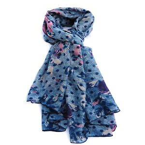 Spotted Flower Print Blue Womens Fashion Scarf