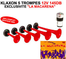 EXCLUSIVITE ! ENORME KLAXON LA MACARENA 5 TROMPES 12V 145DB KIT 100% COMPLET