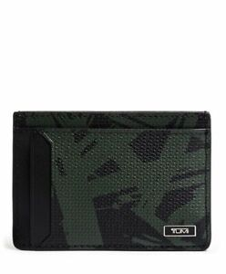 TUMI MONACO MONEY CLIP CARD CASE GREEN PALM PRINT # 1172607503 -NWT