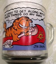 Jim Davis GARFIELD 1978 McDonalds collector glass mug EASY TO GET ALONG WITH