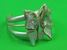 Vintage Mexican Mexico Sterling Silver Mother of Pearl Butterfly Bracelet Cuff