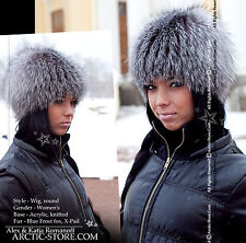 Original Russian Fur Hat Knitten Beanie Base Exclusive Design BLUE FROST FOX