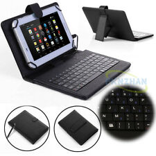"""Black Universal USB Keyboard With PU Leather Case Cover For Android 7""""~8"""" Tablet"""