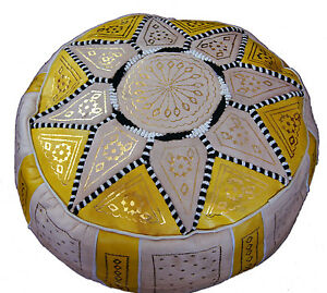Ottoman Footstool Poof Moroccan Hand Made Leather Poufs Hassock Medium Yellow