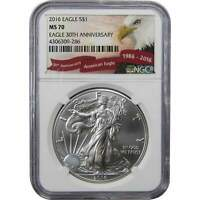 2016 $1 American Eagle 1 oz .999 Silver Dollar Coin MS 70 NGC 30th Anniversary