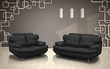 BRAND NEW SANDY 3+2 SEATER SOFA SET IN BLACK FAUX LEATHER LIVING ROOM SUITE