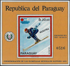 "1971 ""Paraguay"" Olympics Sapporo, Downhill, Sheet Nr. 170 ""MUESTRA"" VF/MNH!"