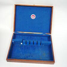 Naken's Silverware Wood Box Flatware Storage Blue Felt Interior Exterior Brown