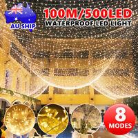 Warm White 500LED 100M Waterproof Christmas Fairy String Lights Wedding Curtain
