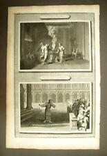 APPARITION DE L'ANGE A ZACHARIS gravure originale Bible DE Mortier 1700