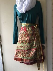 free size Rouge /& Mustard Abstract Floral Vintage Sari Maxi Skirt