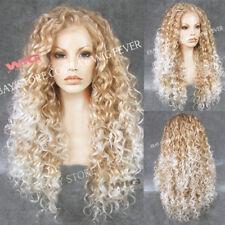 Mode Hellblond Sexy Perücken Lang Gelockt Haar Perücke Women Wig NEU 082
