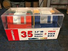 """sealed new 3.5"""" Floppy disk disks 35 pack Compusa 2SHD Rainbow Colors diskettes"""