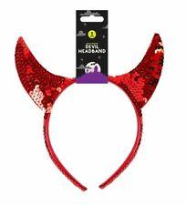 RED DEVIL HORNS SEQUIN HEADBAND Halloween Ladies Girls Fancy Dress Accessory