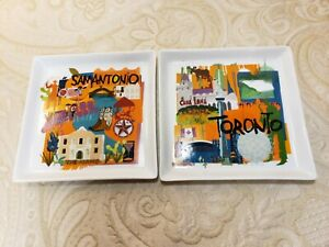 """Crate & Barrel 2 Appetizer Plates San Antonio & Toronto ceramic 6"""" H x 6"""" T"""