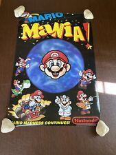 Vintage 1993 Nintendo NES SNES Gameboy Mario Mania Store Display Sign Poster NEW