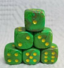 Dice - Chessex 16mm Vortex Slime w/Yellow Pips - Set of Six - Too Cool 4 School!