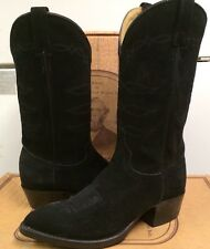 J Chisholm Mens Western Black Calf Suede Boots 969 Size 6.5 D NEW