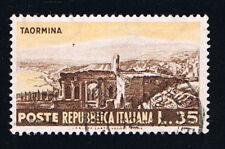 ITALIA 1 FRANCOBOLLO TURISTICA TAORMINA 1953 usato (BI9067)