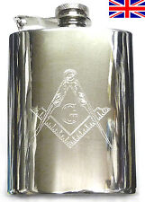 Masonic Hand Made Sheffield Pewter Flask 6oz Kidney Captive Top Free Engraving