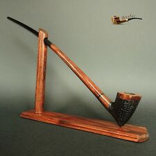 "WOODEN  SMOKING PIPE + STAND Gandalf Hobbit no 83  CHURCHWARDEN LONG 14""  Rustic"