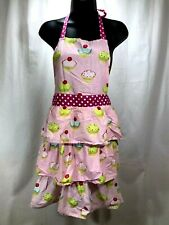 Gourmet Club Cupcake Apron Full Length Tiered Ruffled Pink- One Size Fits Most