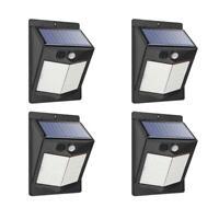 4er Lámpara Solar LED con Sensor de Movimiento Exterior Proyectores Foco