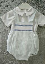 Spanish Style Traditional 2 Pc Baby Boy Blue Set Smocked Shirt Shorts 0-3 years