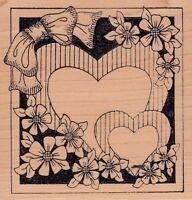 """framed hearts holly berry Wood Mounted Rubber Stamp 4 x 4""""  Free Shipping"""