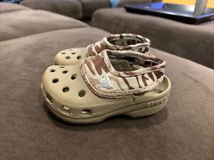 camo CROCS shoes sandals baby Toddler boy sz 4 5 worn 2x EUC clean