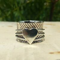 925 Sterling Silver Spinner Ring Wide Band Meditation Ring Handmade Ring A198