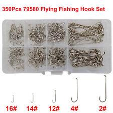 79580 White Fly Fishing Hook Set Long Shank Streamer Dry High Carbon Steel Hooks