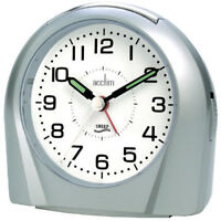 Acctim Europa Silver Analogue Alarm Clock Non Ticking Silent Sweeper 14117 Sweep