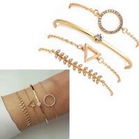 4 Pcs Women's Triangle Circle Crystal Leaf Charm Bracelets Set Cuff Bangle Chain