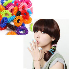 10 Spiral Hair Bands Elastic Bobbles Stretchy Coil Ponytail Hairband Colour Wire