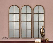 Large Slim Antiqued WINDOW Arch MIRROR Wall Leaner Horchow Neiman Marcus