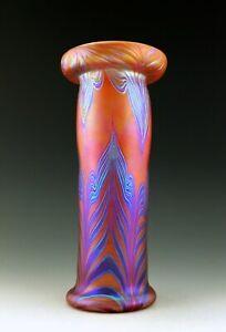 Glamorous Art Nouveau Glass Jugendstil Iridescent Bohemian Vase Tall 10''