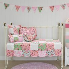5 piece Baby Girls Alice Cot Quilt Nursery Package with 4 Cushions