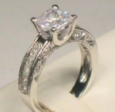 2 Ct Princess Diamond Solitaire Engagement Ring Vintage style White Gold ov