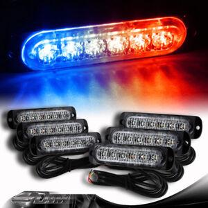 6X Red/Blue 6-LED Car Truck Emergency Flash Warn Beacon Strobe Light Universal 1